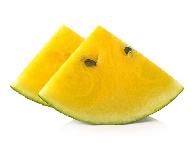 Żółty arbuz na białym