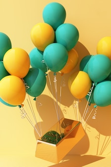Żółty balonik zawiązany sztabką złota i podciągający go do góry