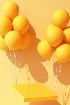 Żółty balonik zawiązany z żółtym stojakiem na produkty i podciągający go do góry