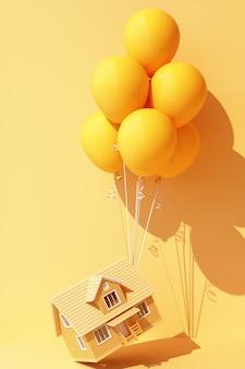 Żółty balonik związany z żółtym domkiem i ciągnie go w górę