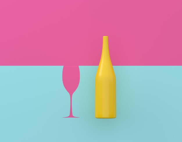 Żółty butelka szampana z okularami kontrast na niebieskim i różowym tle pastelowych.