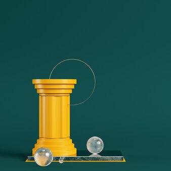 Żółty cokół z kolumną, okrągłą ramą i kulkami na ciemnozielonym kolorze