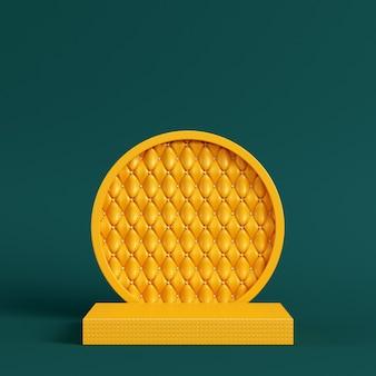 Żółty cokół z okrągłą ramą na ciemnozielonym kolorze
