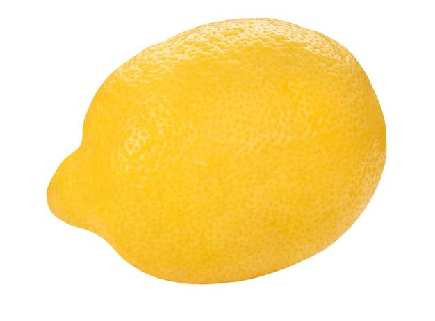 Żółty cytrynowy zbliżenie na białym tle na białej ścianie. widok z przodu całego świeżego limonu. ściana żywności zdrowych owoców. organiczne dojrzałe owoce.