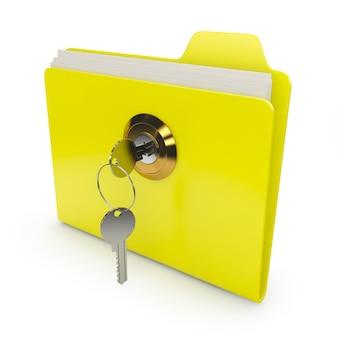 Żółty folder z kluczem