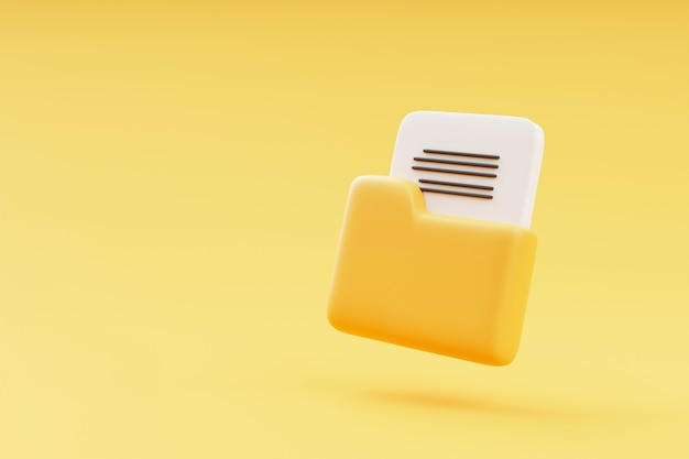 Żółty folder z plikami na żółtym tle ilustracja renderowania 3d z miejscem na kopię