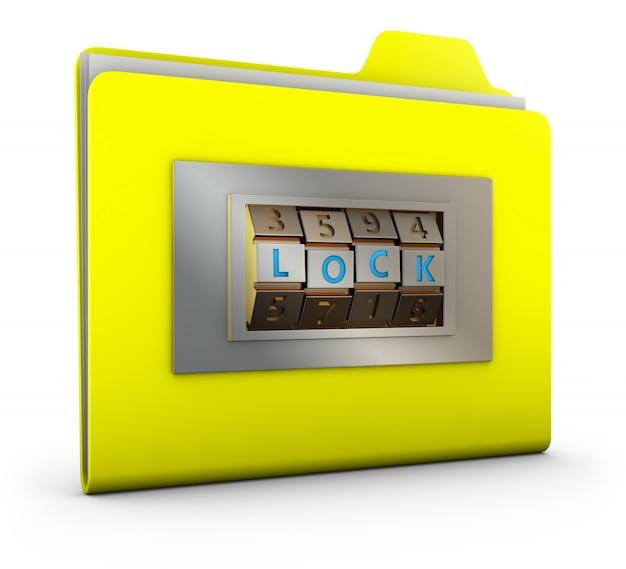 Żółty folder z zamkiem szyfrowym.