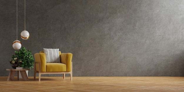 Żółty fotel i drewniany stół we wnętrzu salonu z rośliną, betonową ścianą. renderowanie 3d