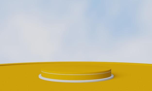 Żółty i biały podium geometryczny produkt stoisko na tle nieba