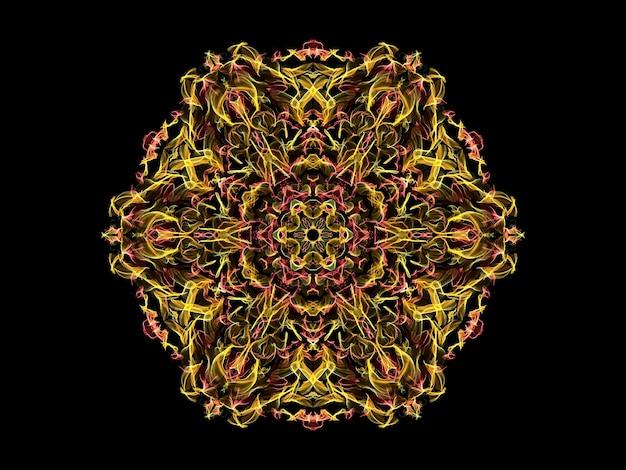 Żółty i koralowy abstrakcyjny kwiat mandali płomień, ozdobny kwiatowy wzór sześciokątny na czarno