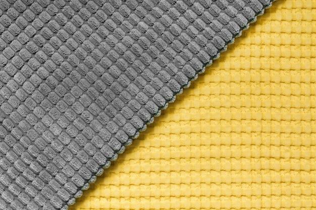 Żółty i szary ukośny wzór włókienniczych z bliska