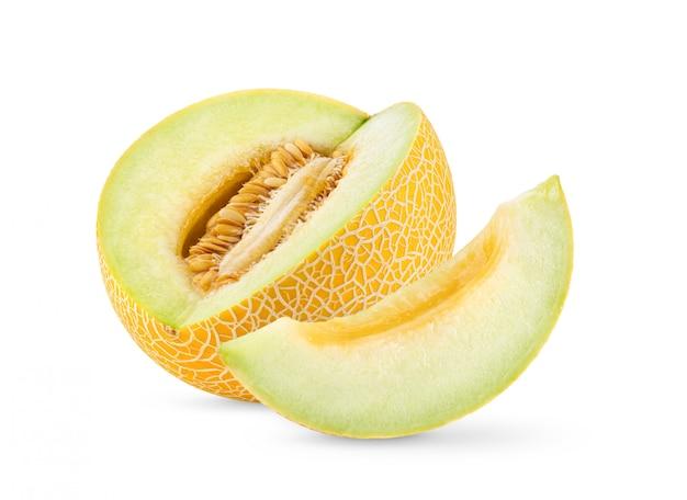 Żółty kantalupa melon odizolowywający na białym tle