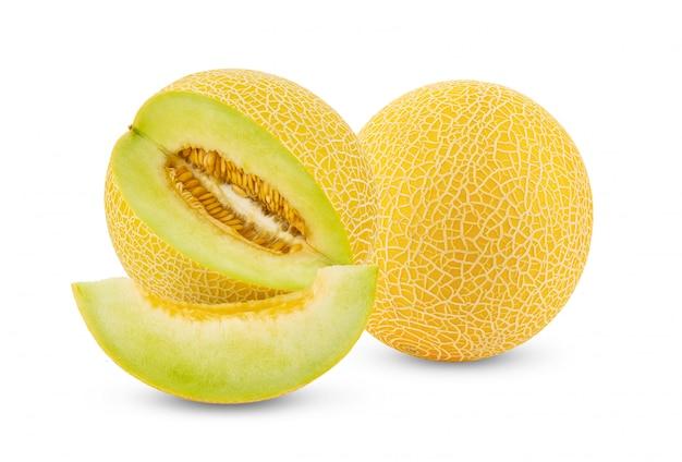 Żółty kantalupa melon odizolowywający na bielu