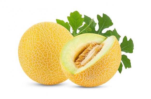 Żółty kantalupa melon z liściem odizolowywającym na białym tle. pełna głębia ostrości