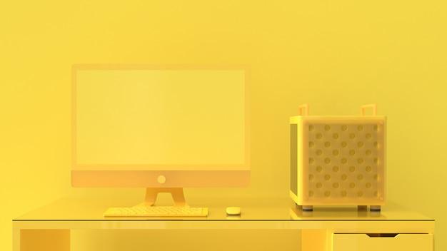 Żółty komputer na biurku.
