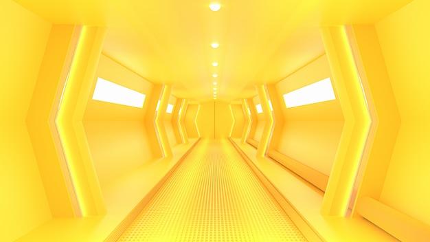 Żółty korytarz sci-fi statku kosmicznego.