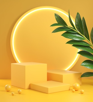Żółty krok podium zestaw z blaskiem światła elektrycznego i roślin. renderowanie 3d