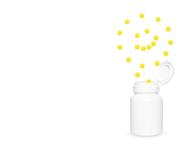 Żółty kwas askorbinowy wylatuje ze słoika w postaci uśmiechniętej buźki.