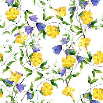 Żółty kwiat i dzwonek. powtarzanie akwarela kwiatowy wzór