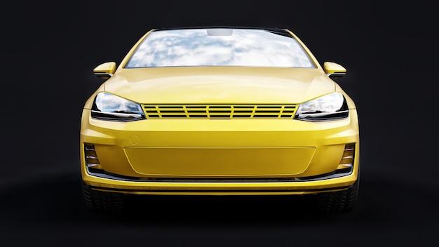 Żółty mały samochód rodzinny hatchback na czarnej powierzchni
