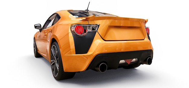 Żółty mały samochód sportowy coupe. renderowania 3d.