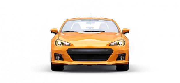 Żółty mały samochód sportowy coupe