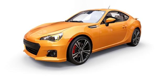 Żółty mały samochód sportowy renderowania 3d coupe