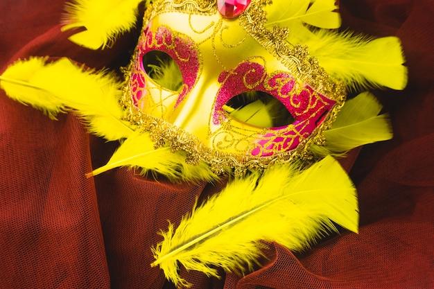 Żółty maska z żółtymi piórami wokół