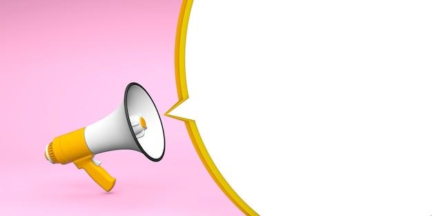 Żółty megafon na różowym tle z białą bańką. renderowania 3d.