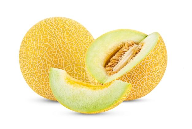 Żółty melon na białym tle