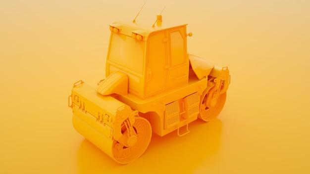 Żółty metalowy walec drogowy na żółtej ilustracji 3d.