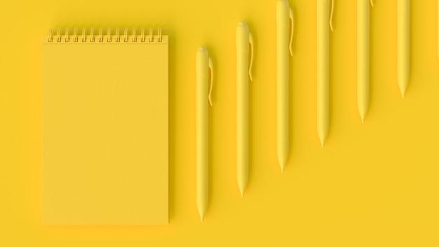 Żółty notatnik i długopis. minimalna koncepcja pomysłu, renderowanie 3d.