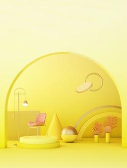 Żółty nowoczesny wystrój pokoju