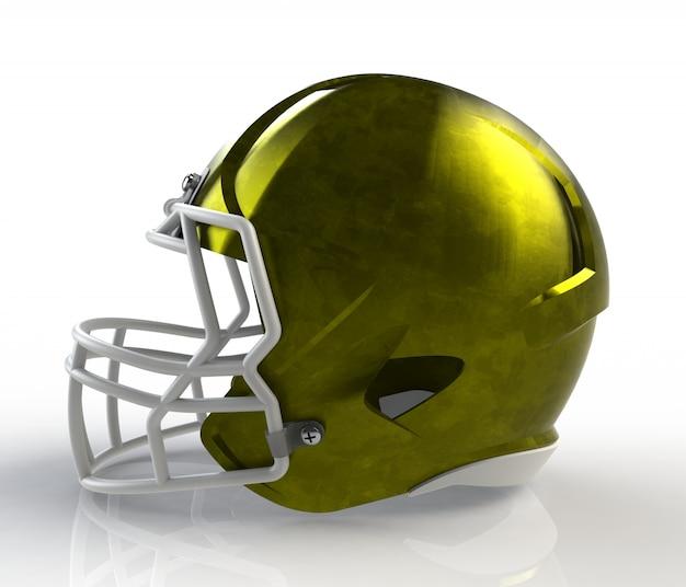 Żółty, ocynkowany hełm futbolu amerykańskiego