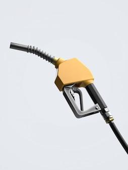 Żółty paliwowy nozzle dla tankowanie gazu, 3d rendering.