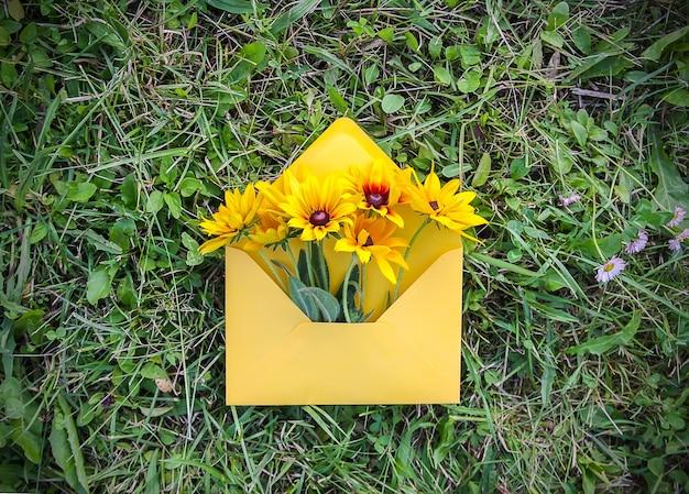 Żółty papier koperta ze świeżym ogrodem black-eyed susan kwiaty na tle zielonej trawy. świąteczny kwiatowy szablon. projekt karty z pozdrowieniami. widok z góry.