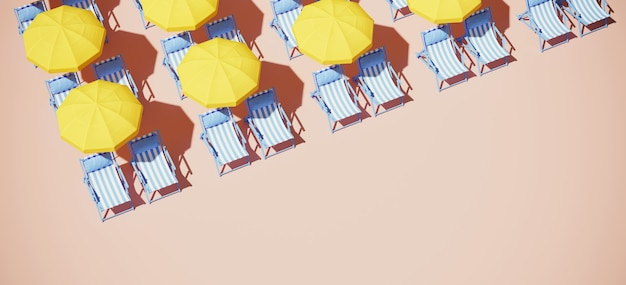 Żółty parasol plażowy i leżak z niebieskim paskiem na piasku