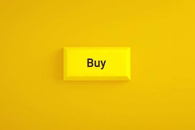 Żółty przycisk kup na żółtym tle, renderowanie 3d