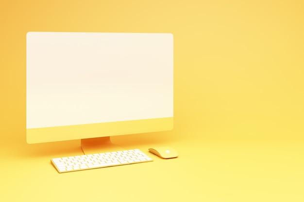 Żółty pulpit z renderowaniem 3d klawiatury i myszy