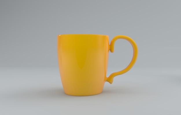 Żółty realistyczny kubek makieta 3d renderowany