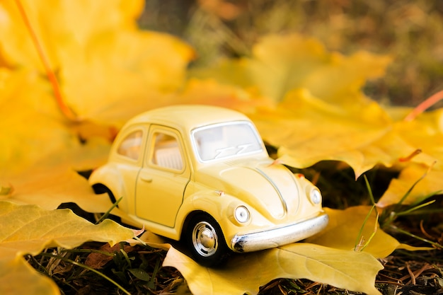 Żółty retro zabawkarski samochód na jesień liściu klonowym. jesienna koncepcja podróży i wakacji.