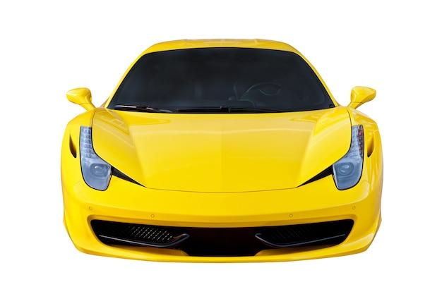 Żółty samochód sportowy na białym tle