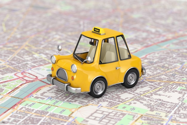 Żółty samochód taxi kreskówka nad streszczenie mapę miasta ekstremalne zbliżenie. renderowanie 3d