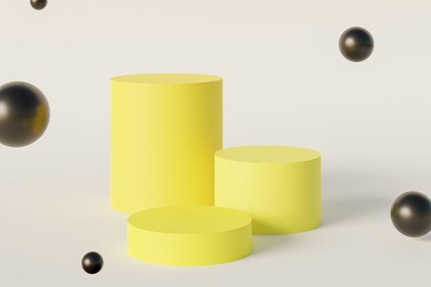 Żółty stojak na cylinder lub cokół dla produktów z szybującymi kulami. renderowanie 3d w minimalistycznym stylu.