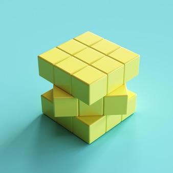 Żółty sześcian rubika na niebieskim tle. minimalny pomysł koncepcji