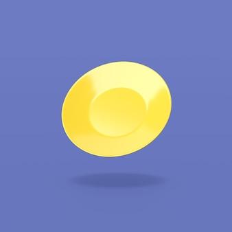 Żółty talerz na niebieskim tle