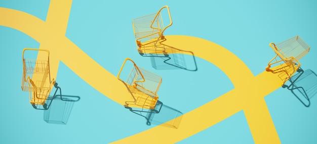 Żółty wózek na zakupy tramwaj i żółta ścieżka na błękitnym tle