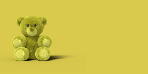 Żółty zabawka niedźwiedź siedzi na podłodze na żółtym tle. abstrakcyjny obraz. minimalna koncepcja zabawek biznesowych. renderowania 3d.