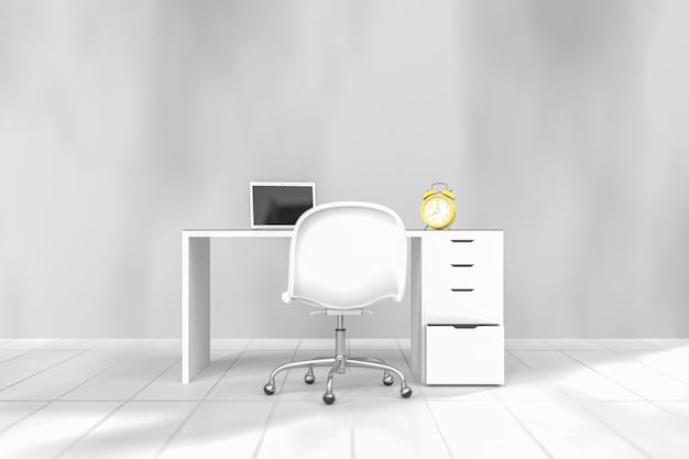 Żółty zegar na biurku pracy na białym tle