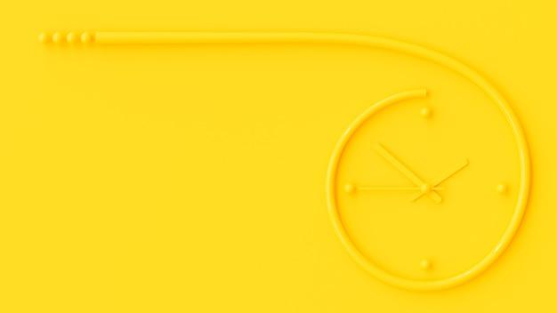 Żółty zegar na żółtym tle ściany i skopiuj miejsce na tekst. minimalna koncepcja pomysłu